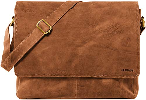 LEABAGS Oxford Umhängetasche Laptoptasche 15 Zoll aus Leder im Vintage Look, Brown As Vintage, -