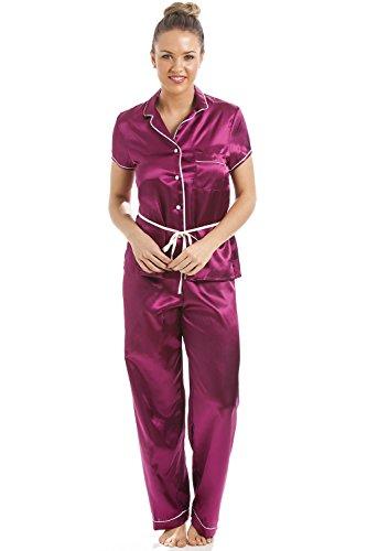 f185d97c2ee473 Camille - Damen Pyjama aus Satin - kurzärmelig - mit Gürtel - Pink