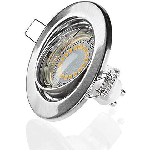 GU10Foco LED de Sweet de LED®–230V–5W–Giro Bar–Redondo–Cromo Cepillado–400lúmenes–3000K–Blanco