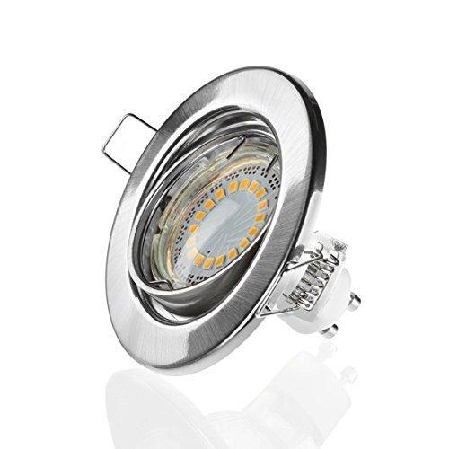 Sweet Led - GU10 - LED Spot - 230 V - 5 W - Orientable - Ronde Chrome brossé - 400 lm - 3000 K - Blanc chaud