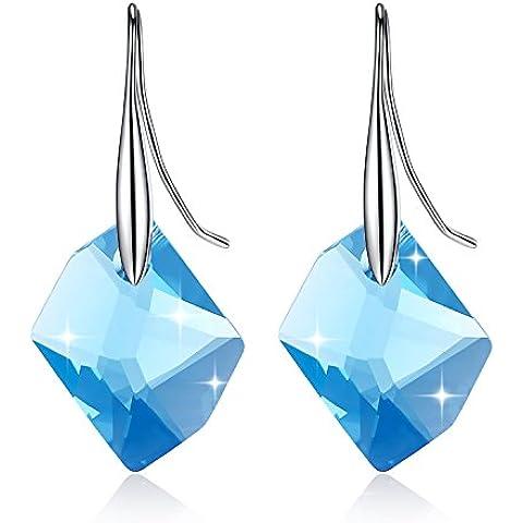 GoSparking Aquamarine cristallo blu 6680 20 millimetri Sterling Silver Orecchini con cristallo austriaco per le donne
