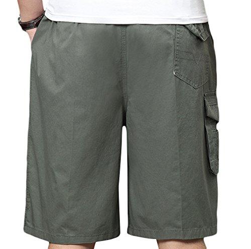 SK Studio Shorts Uomo Cargo Pantaloni Corti Con Elastico Cotone Bermuda Outdoor Spiaggia Pantaloncini con Tasconi Laterali Verde