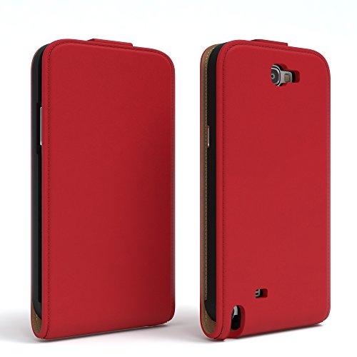 Samsung Galaxy Note 2 Hülle - EAZY CASE Premium Flip Case Handyhülle - Schutzhülle aus Leder zum Aufklappen in Schwarz Rot