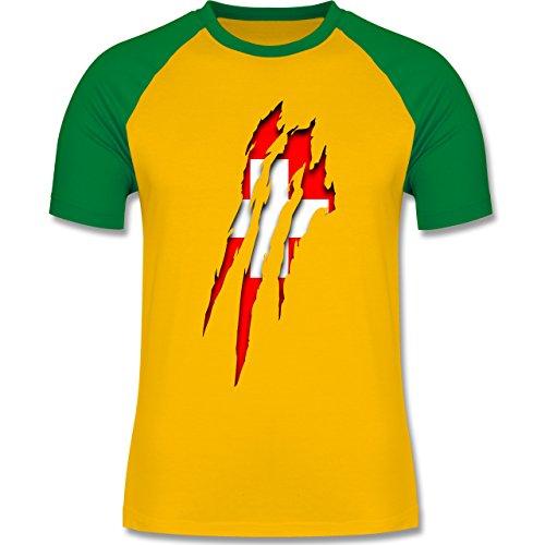 Länder - Schweiz Krallenspuren - zweifarbiges Baseballshirt für Männer Gelb/Grün