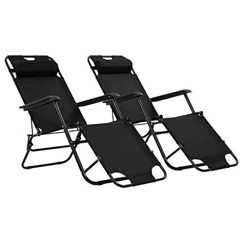 mewmewcat 2 Stück Sonnenliegen Liegestuhl Relaxliege mit Fußstütze Klappstuhl Gartenliege Klappbar 175 x 61 x 87 cm Schwarz (Klappbare Fußstütze)
