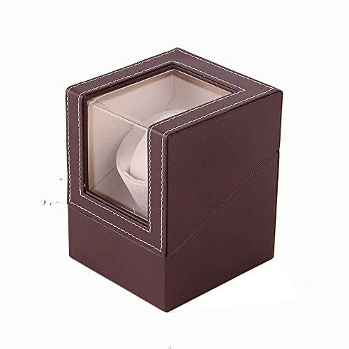 Axroad Mall Automatische Uhrenbeweger Box, Single Uhrenbeweger Halter Display Storage Automatische mechanische Uhr Aufbewahrungsbox Shaker (Color : Brown+Beige) -