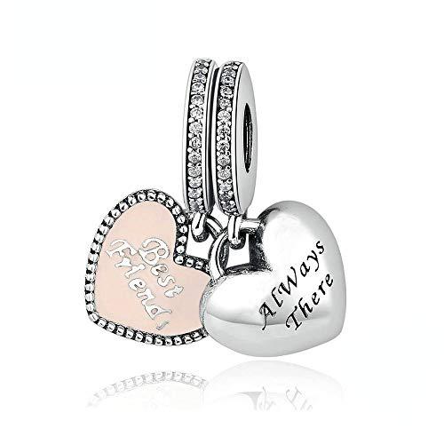 PANDOCCI Fits fai da te per Pandora braccialetto migliori amici incanta con soft smalto rosa 100% monili del branello d'argento 925