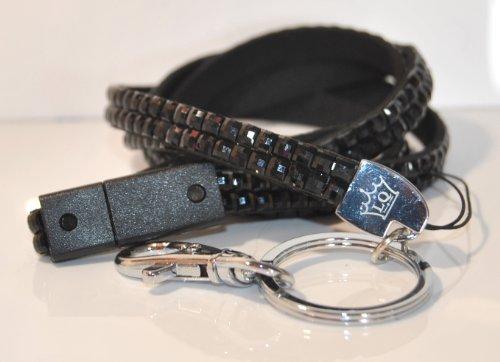 Lanyard Queen Schlüsselband mit Sicherheitsausklinkung, mit Strasssteinen 98 cm lang, Schwarz