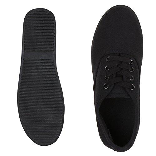 Damen Sneakers Freizeit Schuhe Stoffschuhe Schwarz Total