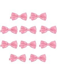 DonDon Lot de 10 Noeud papillon pour homme 12 x 6 cm avec crochet déjà lié 26093b7e34a