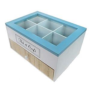 Rotix Boîte à thé 6 Compartiments avec tiroir pour 30 Capsules Nespresso 23 x 16,5 cm
