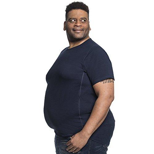 4XL T-Shirt für Männer mit Übergröße Bauchumfang Herren Rundhals Basic Tshirt Übergrößen. 4XL-B (für Bauchumfang 138-145 cm) Blau - Großer Mann Crewneck T-shirt