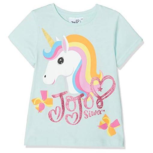 Jojo-Siwa-Girls-Unicorn-and-Bows-T-Shirt-Blue