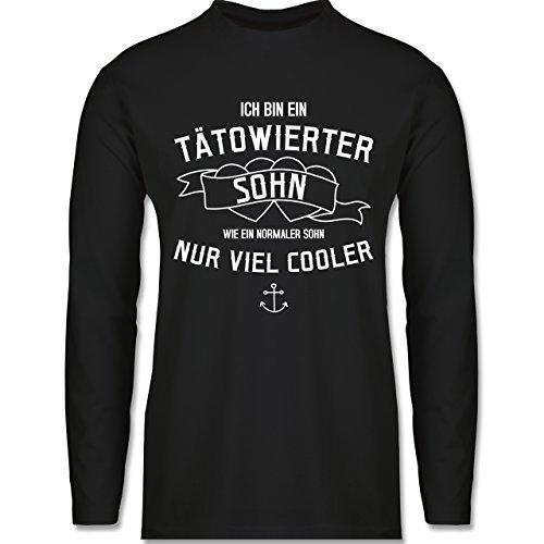 Typisch Männer - Ich bin ein tätowierter Sohn - Longsleeve / langärmeliges T-Shirt für Herren Schwarz