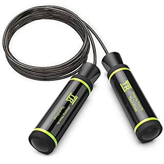 TechRise Skipping Rope, Speed Skipping Jump Jumping Rope with Skin-friendly Handle and Adjustable Soft Steel Wire Inside Rope for Fitness Workouts Fat Burning Exercises and Boxing