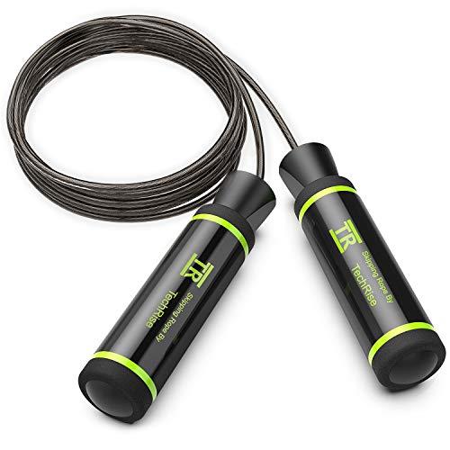 Corda per Saltare - TechRise Corda per Saltare Regolabile Speed Skipping Rope Jump Rope, Fitness Corda da Salto Veloce, Cavo in Acciaio, Cuscinetti in Acciaio