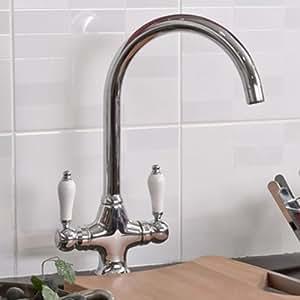 Luxury Chrome Swivel Spout Kitchen Tap Traditional Sink Monobloc Faucet