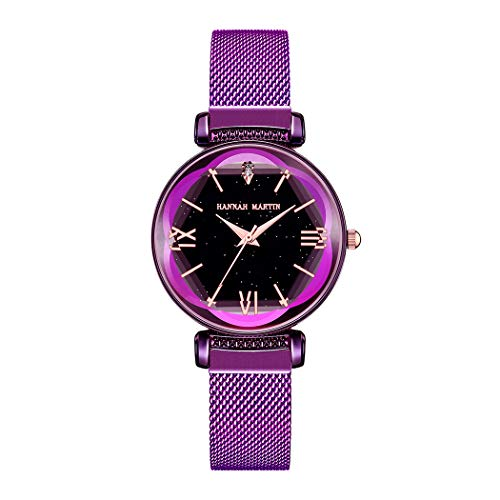 Damen Uhren, L'ananas Frauen Mode Blütenblatt Diamant schneiden Sternenhimmel Zifferblatt Mesh-Band Armbänder Armbanduhren Women Watches Wristwatches (Lila)