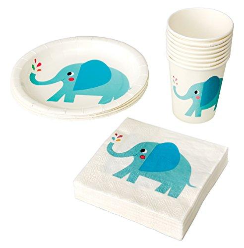Kindergeburtstag | Kinder Partygeschirr | Teller Becher Servietten Tischdeko | Mädchen und Jungen | Einweg-Geschirr für 8 Personen (Elefant, 3 er Set) (Kleinkind-mädchen-geburtstags-party)