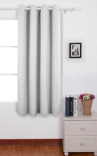 Deconovo Verdunkelungsvorhang Ösen Gardinen Wohnzimmer Vorhang Blickdicht 160x132 cm Grau Weiß (Vorhänge Blackout Schlafzimmer)