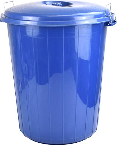 Sterling Ventures 25L Garden Waste Rubbish Dust Bin with Locking Lid (Blue)