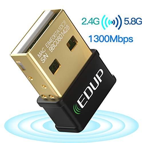 EDUP Mini Adaptateur WiFi USB pour Ordinateur Portable AC1300Mbps Nano Carte réseau sans Fil Wi-FI Dongle Dual Band 2.4G 5.8G 802.11AC Support Windows 10/7/ 8.1/ XP/Vista/Linux/Mac OS 10.6-10.14