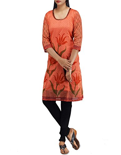 Unnati Silks Women Sloka Weaves Orange Chanderi Sico Kurti