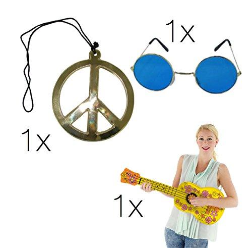 asching Kostüm Outfit Hippie 70er Jahre Bekleidung Accessoires Karneval Kostüm 70 Jahre Halskette Kette Peace, Brille Sonnenbrille blau, aufblasbare Ukulele für Herren und Damen, Perücke, Ring, Fake Joint (Hippie Set L Blau) (Das 70er Kostüme)
