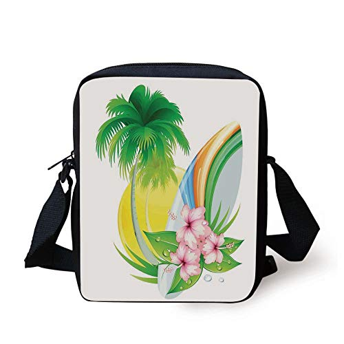 ZKHTO Surf,Illustration of Funky Summer Insignia with Palms and Surfboard Tidal Bore Print,Green Yellow Pink Print Kids Crossbody Messenger Bag Purse -