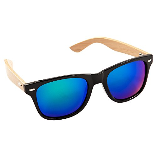 ECENCE Bambus Holz Sonnenbrille Damen Herren Unisex Nerdbrille Fashion schwarz blau 22020103