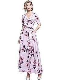 07123a0505c7 LAI MENG Damen Kleider V-Ausschnitt Kurzarm Swing Midikleid in Wickeloptik  mit Blumenmuster Pocket Maxi Lange