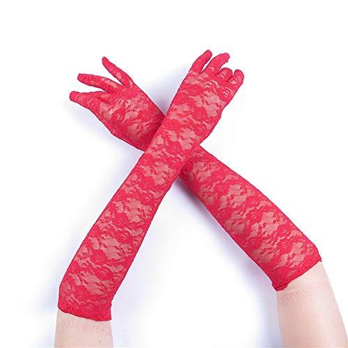 Lange Handschuhe Retro Hohl Elastische Transparente Frauen Braut Hochzeit Handschuhe Party Phantasie Kostüme Arbeitshandschuhe (Color : RED, Size : M) ()