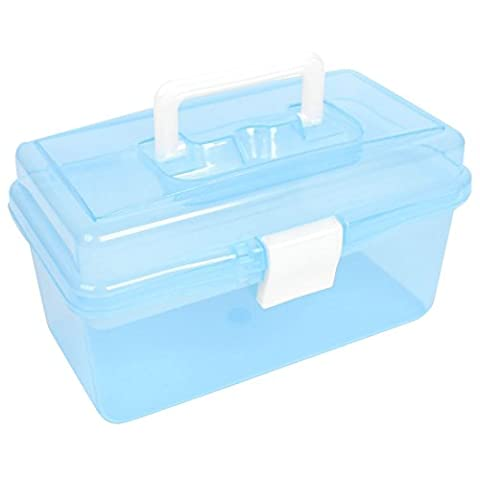 TOOGOO(R) Double Layer Hardware Tools Storage Box Holder Clear Blue