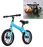 SXMXO Biciclette per Bambini Bici per Bambini 2-6 Anni, Biciclette per Bambini Senza Pedali, Telaio per Bicicletta in Acciaio al Carbonio di Prima qualità da 12 Pollici,Blue