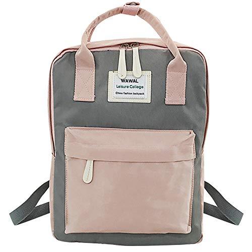 squarex modischer Rucksack für Damen, für Studenten geeignet, Leinwand-Umhängetasche, Reisetasche, fürs Wandern, Sport, Schule, mit Laptop-Tasche grau grau AS SHOW