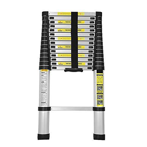 Wolketon 4,4M Escalera Telescópica de Aluminio, Carga 150kg Escalera Extensible Multifuncional Portátil...