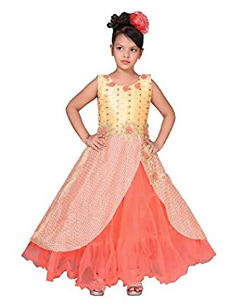 Sky Heights Girls' Orange Net Gown (4-5 Years)