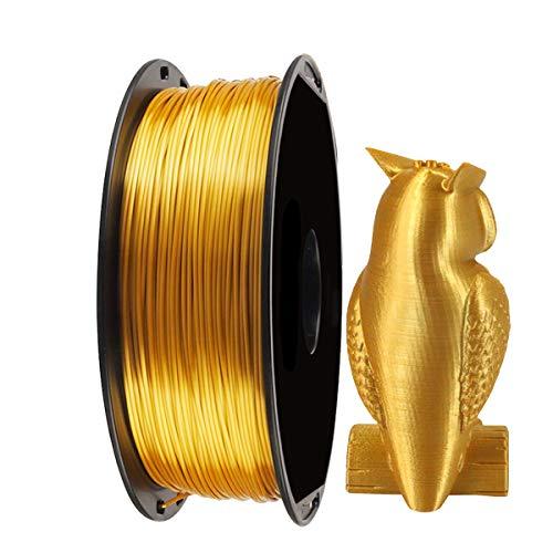 Seta Oro lucido Filamento Stampante 3D PLA - EKOHOME 1,75millimetri Filamento 3D per Stampante 3D / Penna Stampa 3D,1KG/360m, Tolleranza +/- 0,02 mm,Confezionato Sottovuoto, RoHS Approvato nonTossico