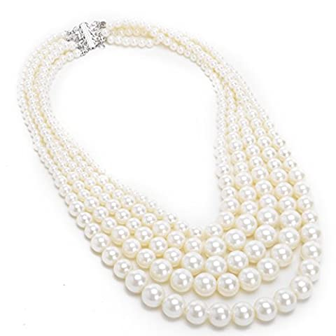 Jerollin Fashion Resin White Faux Pearl Multi Strand 5 Layers Chunky Dressy Bib Necklace Pearl Chain for Christmas
