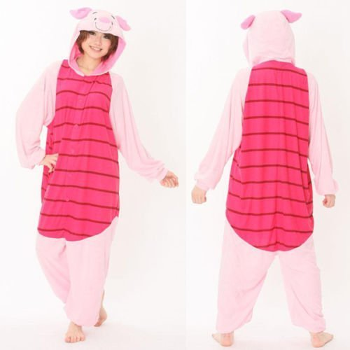 Winnie the pooh characters Unisex Onesie Fancy Dress Costume Hoodies Pajama (Piglet, M(160CM-170CM)) by Everglamour