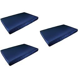 3 X Colchón Europalet para palet 120x80 cm en tela de diferentes colores. Fabricado en España. (Azul marino)