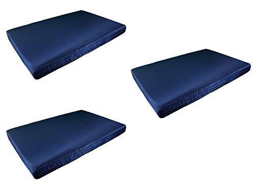 3x Europaletten-Matratze in diversen Farben für 120×80cm große Paletten. Hergestellt in Spanien. Marineblau.