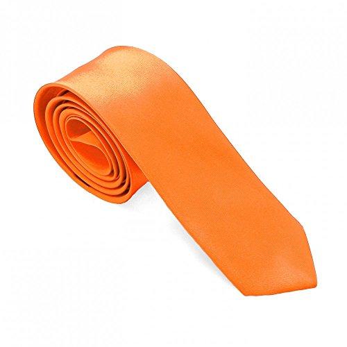 1 Krawatte Orange für Hemd Anzug Schlips Binder Schmal Dünn Satin Herren Damen Uni Glänzend Business Hochzeit (Hemd Anzug Krawatte)