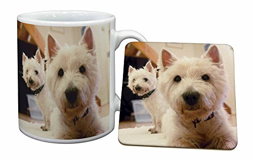 Advanta - Mug Coaster Set West Highland Terrier Hunde Becher und Untersetzer Tier Gesch -