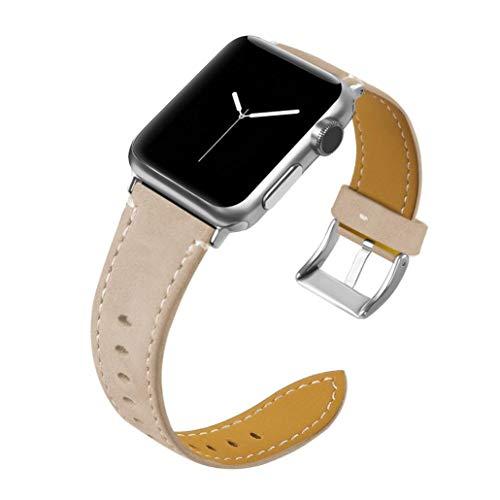 BZLine für Apple Watch Armband 38mm/42mm, Mode Leder Ersatz Wrist Strap Band Uhrenarmband Schlaufe Smart Watch Armbänder mit Klassische Schließe für Apple Watch Series 3/2/1 (38 mm, Beige)
