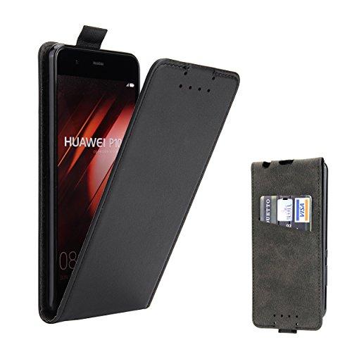 Huawei P10 Hülle, Supad Leder Tasche für Huawei P10 Handyhülle Flip Case Schutzhülle (Schwarz)