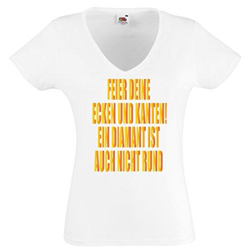 Damen T-Shirt FEIER DEINE ECKEN UND KANTEN! EIN DIAMANT IST AUCH NICHT RUND- V-Shirt Damen Gr. S - XXL Weiss-Gold
