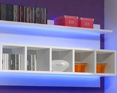 Wohnwand ELFANOSI Hochglanz mit LED-BELEUCHTUNG WEIß - 3
