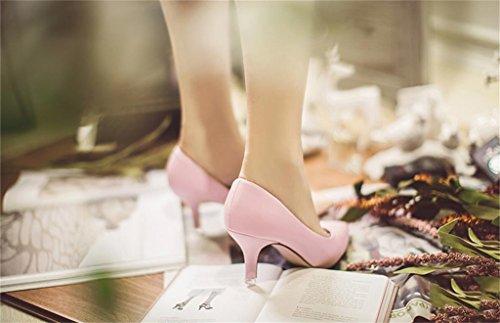 ALUK- Printemps - fines avec des chaussures de bouche superficielle avec des chaussures à talons hauts à talons hauts ( couleur : Rose , taille : 35 ) Rose