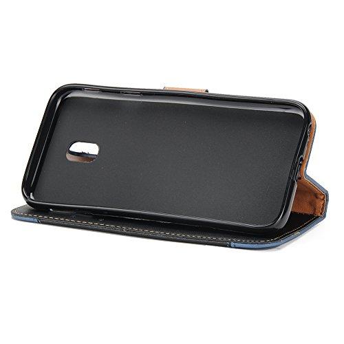 EKINHUI Case Cover Gemischte Farben Rose Blume matt Premium PU Leder Brieftasche Stand Case Cover mit Lanyard & Card Slots für Samsung Galaxy J530 ( Color : Purple ) Black
